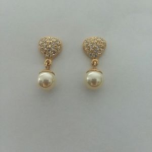 VTG. SIGNED ROMAN EARRINGS RHINESTONE/FAUX PEARL